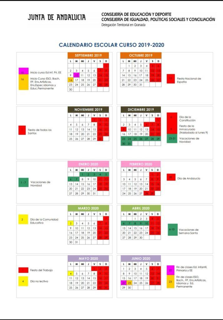 Calendario Escolar 2020 Andalucia.Calendario Escolar 2019 2020 Ceip Sierra Nevada De Granada